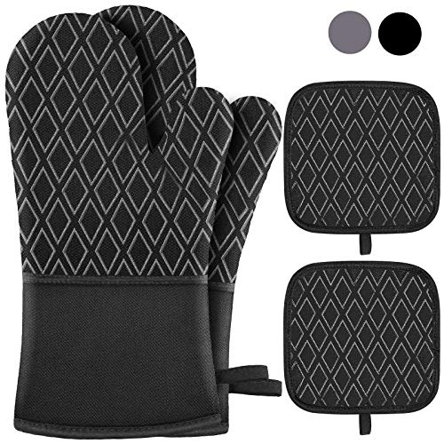 Jaweke Oven Mitts and Pot Holders 4Pcs Set, Extra Long 500℉ Heat Resistant Oven Gloves with Cotton Lining, Non-Slip Silicone Surface for Kitchen Cooking, Baking, BBQ(Black)