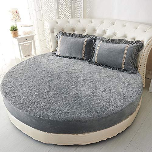 HPPSLT Protector de colchón/Cubre colchón Acolchado de Fibra antiácaros, Transpirable, Sábana Redonda Engrosada Acolchada-Gris-Espesa_2m