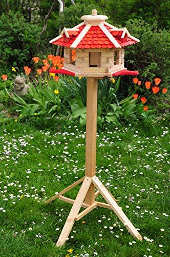 PREMIUM Vogelhaus, 65 cm XXL, mit Landebahn + LED - Beleuchtung/Licht - Anflugbrett NEU, Massivholz,wetterfest, mit Ständer/mit Standfuß Silo, Vogelvilla Vöglehus groß aus Holz