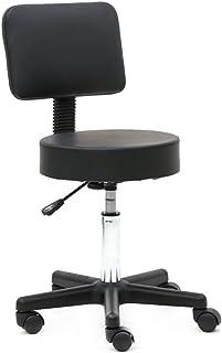 Tabouret de Bureau,Tabouret à roulettes Professionnel avec Dossier Rotation à 360°,Chaise a Roulette Hauteur Réglable pour...
