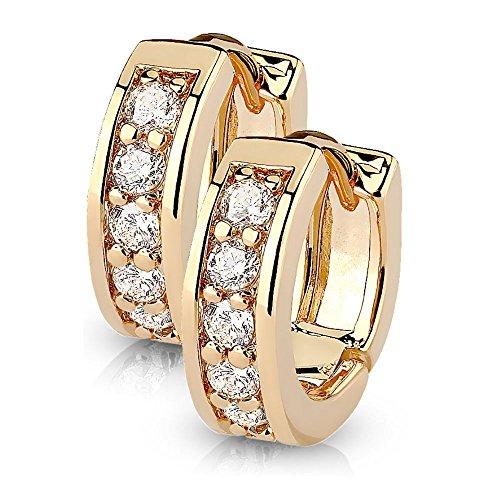Bungsa® rosegoldene Damen-Ohrringe Kristalle klar I hochwertige Klapp-Creolen rosé mit Kristallen für Frauen Edelstahl