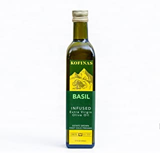 Basil Infused Extra-Virgin First Cold-Pressed Olive Oil 500 Ml (17 Oz) (Basil Flavored)