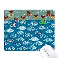 青い海のグリッドの抽象的な魚 ゲーム用スライドゴムのマウスパッドクリスマス