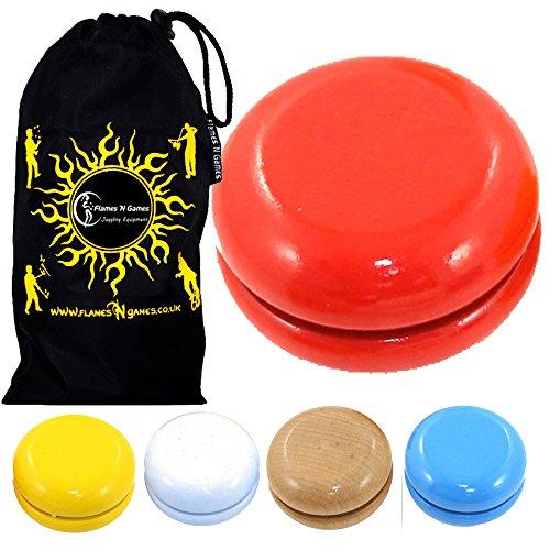 Juggle Dream Basic HÖLZERN YoYo Standard Entry-Level-YoYo + Reisetasche! Große KleinYo-Yo für Anfänger und Kinder. (Blau)