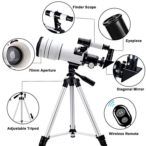 51bX0Mw5IXL - ToyerBee Telescope for Kids &Adults &Beginners,70mm Aperture 300mm Astronomical Refractor Telescope(15X-150X),Portable Travel Telescope with an Adjustable Tripod,A Phone Adapter&A Wireless Remote