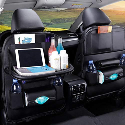 ZHANGYY 1PC PU Leather Car Seat Back Storage Hang Bag Multi-functional IPad Mini Holder Universal Back Seat Organizer for Kids Storage,black with tray1