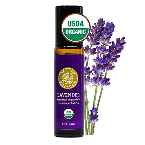 Red Silk Essentials USDA Organic Lavender Essential Oil Roll on, Lavandula Angustifolia, Pure Natural Aromatherapy for Sleep, Anxiety - 10 ml