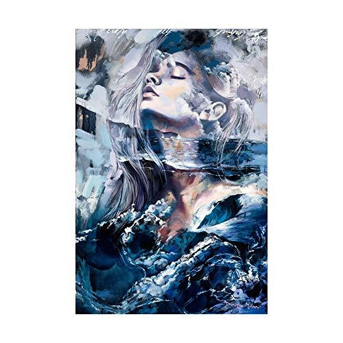 JRLDMD Mujer de Humo Azul Lienzo Abstracto Pintura impresión póster imágenes Arte Abstracto de la Pared Dormitorio Sala de Estar decoración del hogar 50x70cmx1 sin Marco