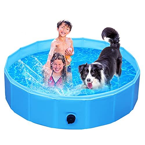 Piscina para Perros, Piscina para Perros y Gatos Grandes y Pequeños, Bañera Plegable, PVC, Antideslizante y Resistente al Desgaste, Piscina Mascotas Adecuado para Interior Exterior, 160 x 30 cm, Azul