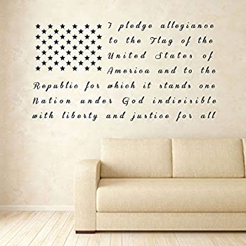 CustomVinylDecor American Flag Pledge of Allegiance Vinyl Wall Decal | Patriotic Vinyl Sticker for Home or Classroom Decoration | Small and Large Sizes | Black Blue Red White