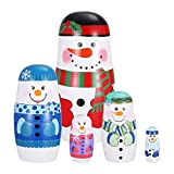 SUPVOX Wooden Russian Nesting Dolls 5 Layers Novelty Snowman Stacking Nested Handmade Toys for Children Kids Christmas Winter Party Wishing Gift
