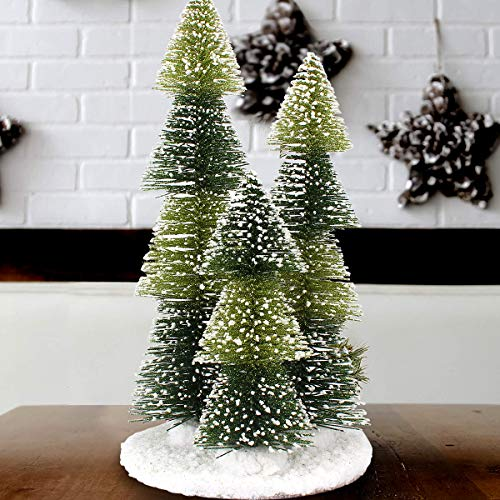 Mini Christmas Tree, 3 in 1 Artificial Small Pine Tree Plastic Winter Snow Ornaments Tabletop Trees Decor 12'/30cm with Wooden Bases for Xmas Holiday Party Home Tabletop Tree