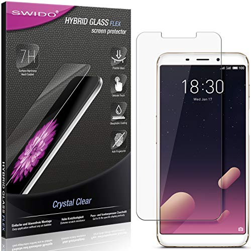 SWIDO Panzerglas Schutzfolie kompatibel mit Meizu M6s Bildschirmschutz-Folie & Glas = biegsames HYBRIDGLAS, splitterfrei, Anti-Fingerprint KLAR - HD-Clear