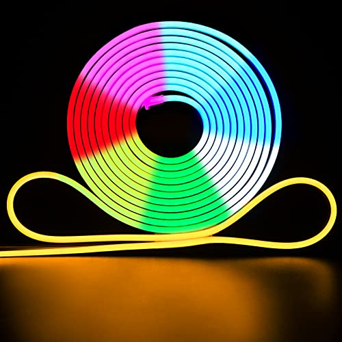 Shine Decor 12V LED RGB Neon Strip Lights, 16.4FT Flat Flexible Silicone Neon Rope Lights Outdoor with Remote, Dimmable Cuttable Neon Light Color Change Christmas String Lights for Signage Decoration