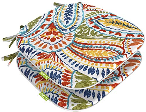 LVTXIII Seat Cushions All Weather Outdoor Chair Pads with Ties, Colorful Designed Patio Chair Pads for Patio Furniture Garden Home Office Decoration 16x17 Inch Set of 2, Paisley Ummi Multi
