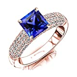2.65 Carat t.w 14K Rose Gold Contemporary Five Row Modern Pave Diamond Engagement Ring w/a 2 Carat Princess Cut Purple Tanzanite Heirloom Quality
