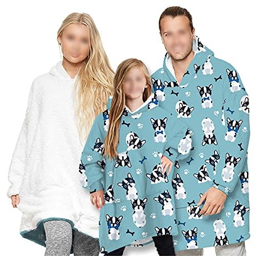 HGYJ Batamanta,Ropa para Padres e Hijos, Adultos y niños Pueden Usar Mantas, suéteres de Lana Estampados, Pijamas Sueltos de Gran tamaño para el hogar,Blue1,Adult