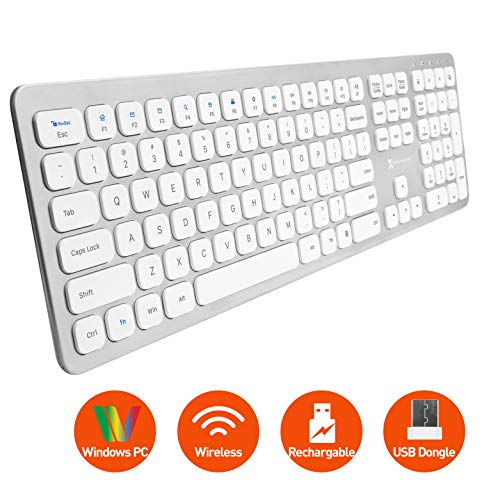 X9 Performance Slim 2.4G USB Wireless Keyboard for Laptop or Computer - Designed for Windows - 110 Key Layout with Numeric Keypad and 17 Shortcut Keys - Rechargeable PC Keyboard Wireless - Aluminum