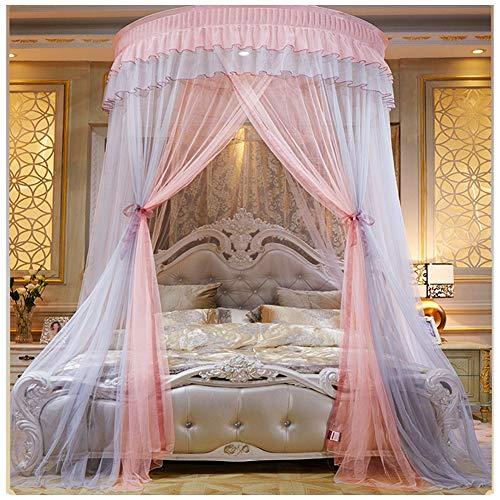 YOUCAI Moskitonetz Romantische Prinzessin Bett Baldachin Kuppel Mücken Netz Runden Betthimmel Schlafzimmer Dekoration für Mädchen & Erwachsene(Höhe :2.7M) Grau Pink