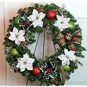 Silk Florals & Frills Cemetery Wreath with Gold Ornaments, Poinsettia Cemetery Wreath, Christmas Grave Wreath