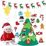 Monuary Árbol de Navidad del Fieltro DIY Fijó con 18pcs Ornamentos Desmontables,  Árboles de Navidad Extraíble en 3D con 1 Piezas Banner de Navidad, Decoraciones de Navidad Árboles para Niños