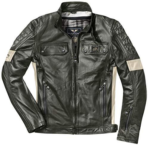 Black-Cafe London Brooklyn Motorrad Lederjacke Dunkelgrün 54