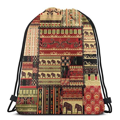 XCNGG Bolsos con cordón Bolsa de deporte para gimnasia de viaje, patrón asiático de estilo patchwork con estampado de elefantes y motivos culturales antiguos