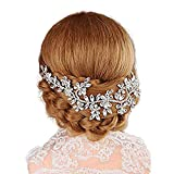 Protein Diamant-Hochzeit Stirnband - Handgemachte Kristall Petal Haar-Klipps, Delicate Accessoires für die Braut Kopf
