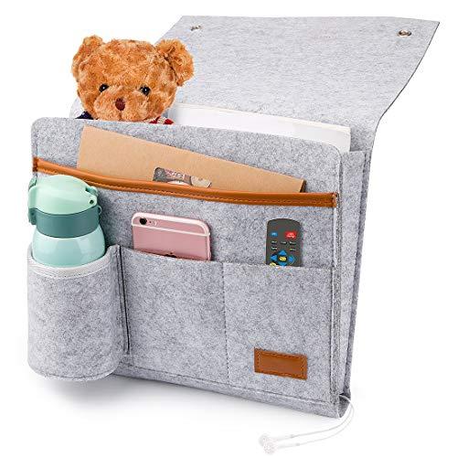 Betttasche,Bettablage zum Einhängen Betttaschen Hängeaufbewahrung Anti-Rutsch Nachttisch-Caddy Tasche Betttasche Bett Sofa Organizer Bett Hängeaufbewahrung für Buch, Zeitschriften, iPad, Handy