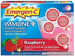 EMERGEN-C, Immune+ System Support, with Vitamin D, Raspberry - 30 CT