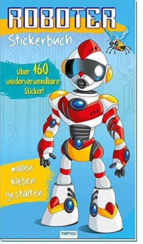 Sticker-Malbuch ROBOTER: mit 160 wiederverwendbaren Vinyl-Stickern und aufklappbarem Cover