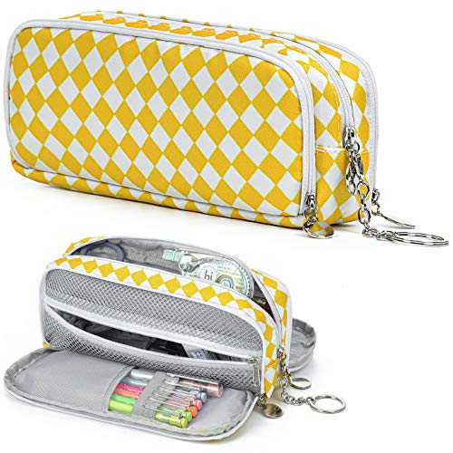 Big Capacity Handheld Pencil Case - Large Pen Pouch Bag Multiple Compartments Three Zipper Stationery Storage for High School Office Students (#7 Yellow-White Grid)