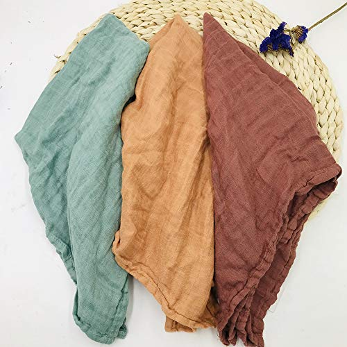 HGHG 3 Pack Solid Bamboo Soft Muslin Swaddle Blankets Premium Receiving Blanket for Newborn Baby Gift Fall Solid Color for Baby Boys & Girls Plus a BurpCloth (Solid Color 3)