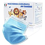 50 Pezzi MADE IN ITALY Mascherine Bambini Colorate protettiva colorata personale 3 strati CE tipo IIR, Nasello Regolabile, Pacchi individuali (Blu)