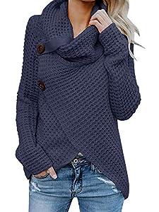 Pxmoda Damen Rollkragenpullover Warmes Kabel Gestrickte Lose Knopf Wrap Asymmetrische Pullover Tops (Medium, Marine-A)
