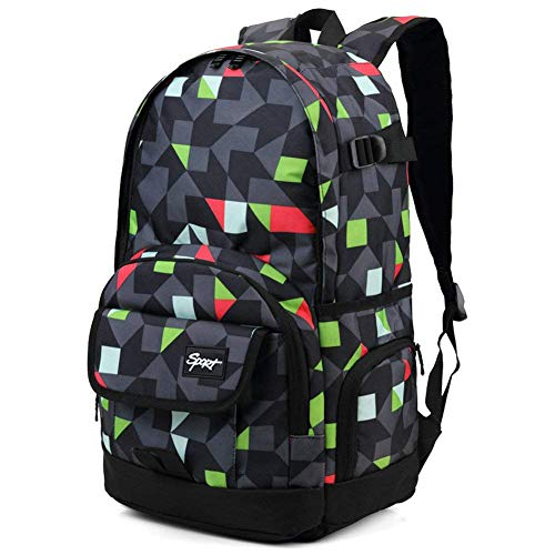 rickyh-style Pattern Multi-Purpose Backpack for Students, Men & Women, Fits Laptop up to 15.6 Inch-Grey & Green