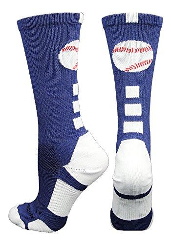 MadSportsStuff Baseball Logo Crew Socks (Navy/White, Small)