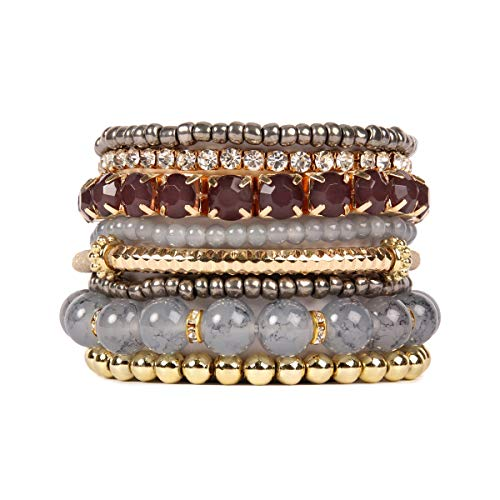 RIAH FASHION Multi Color Stretch Beaded Stackable Bracelets - Layering Bead Strand Statement Bangles ([S-M] Grey)