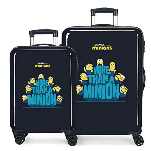 Minions We Are A Minion Juego de Maletas Azul 55/68 cms Rígida ABS Cierre de combinación Lateral 104L 2,66 kgs 4 Ruedas Dobles Equipaje de Mano