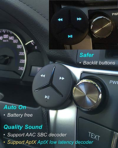 Bluetootoh Handsfree 3.5mm Aux Bluetooth Receiver Car Handsfree Support AAC Decoder Music Streaming for Car and Home Theater Voice Assistant Built-in Noise Isolator 6