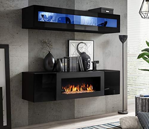 Moderner Wohnwand Morgan 2 Anbauwand Schrankwand mit Bio Kamin Hängewand 21 (Schwarz)