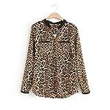 PAOLIAN Mujer Leopardo ImpresióN Gasa Blusas Manga Larga Delgado Blusas Casual Camisa (Amarillo, M)