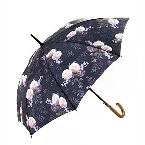 MARY SAM\'S Umbrella, Stabiler ultraleichter Damen und Herren Stockschirm mit Holzgriff, Auf-Automatik Regenschirm wasserabweisend und windfest, Lila Rosa Blumenmotiv mit Vintage Rosen