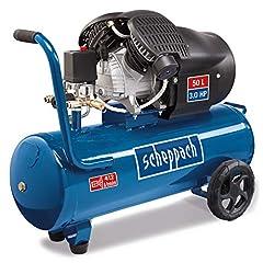 Scheppach kompressor HC53DC (2200 watt, 50 L, 10 bar, intag effekt 412L/min, tryckredare, olja smord, dubbel cylinder)