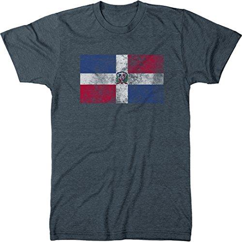 Trunk Candy Distressed Dominican Republic Flag Men's Modern Fit T-Shirt (Indigo, Medium)