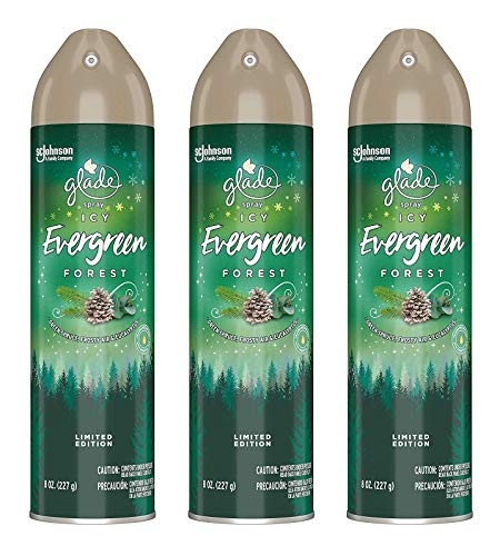 Glade Air Freshener Spray  Limited Edition  ICY Evergreen Forest  Net Wt 8 OZ 227 g Per Can  Pack of 3 Cans