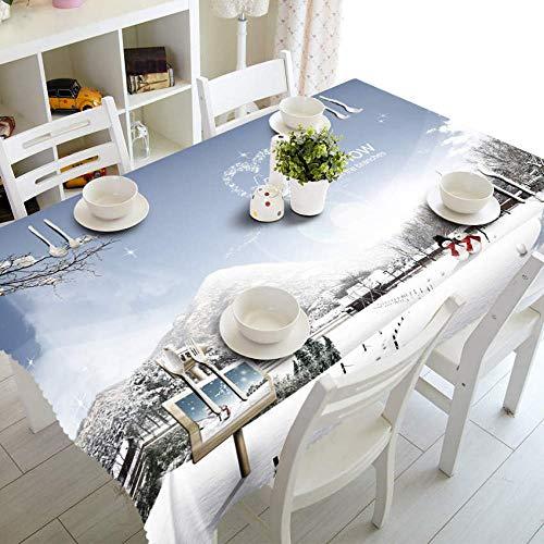 Mantel de Mesa para Fiestas 3D Table Cloth Joyous Christmas Tree Pattern Waterproof Cloth Thicken Rectangular Wedding Tablecloth Home Textiles-Color_7_90cm_X_90cm