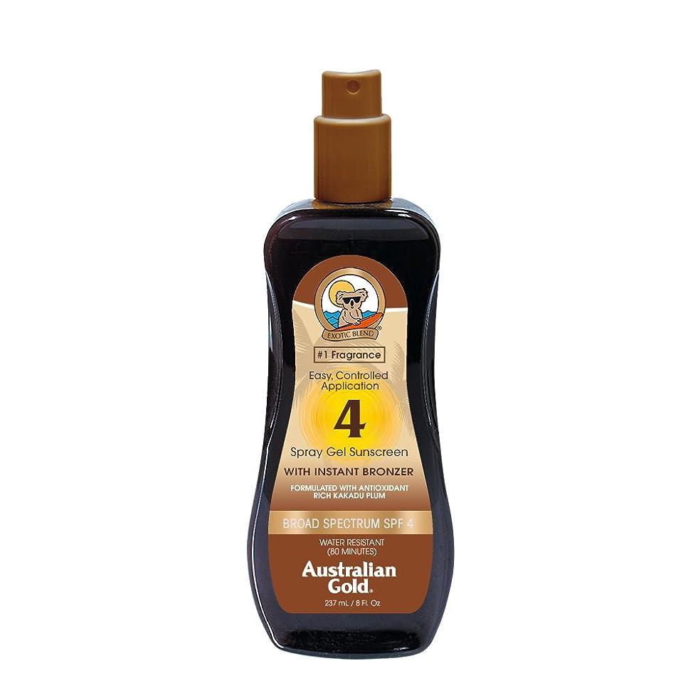 妊娠した息苦しい再開Australian Gold Spray Gel Sunscreen Broad Spectrum SPF 4 with Instant Bronzer 237ml/8oz並行輸入品