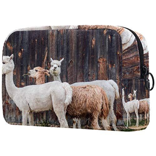 Bolsa de maquillaje personalizada para las brochas de maquillaje, bolsa de aseo portátil para las mujeres, bolso de mano, organizador de viaje de alpaca cabañas, alquiler vacacional de piel de lana
