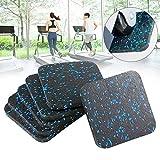 ZSooner - Almohadillas para amortiguación de cinta de correr, Juego de 6 unidades, antiabrasión, aislamiento acústico, protege el suelo, No nulo, Negro y azul., 6 unidades